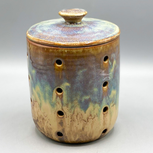 Stoneware Jar with Holes & Lid