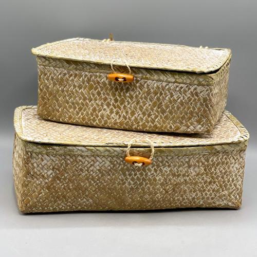 Woven Seagrass Box w/Lid