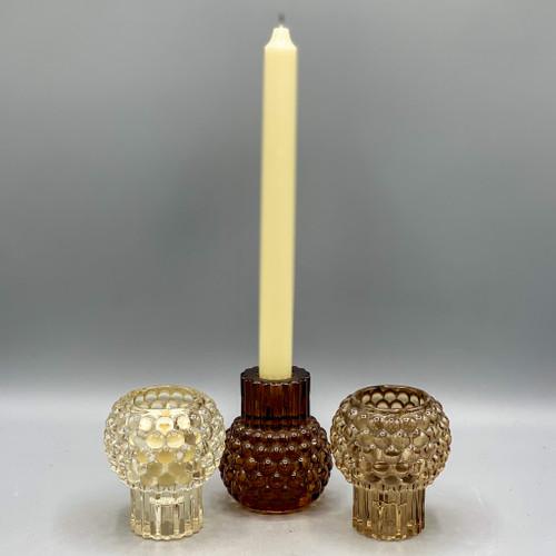 Glass Hobnail Taper/Tealight Holder