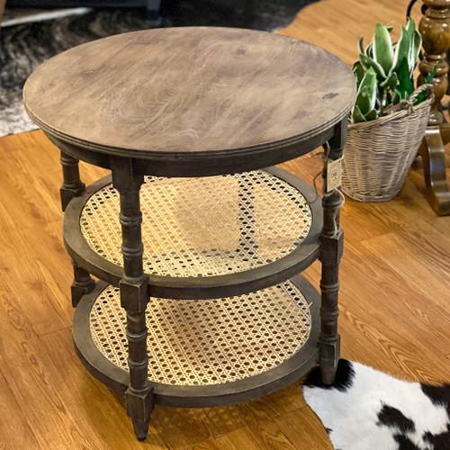 Mango Wood Table w/Cane Shelves