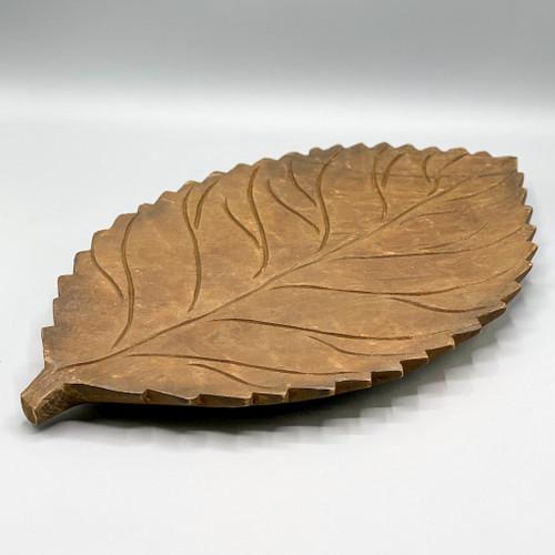 Hand Carved Mango Wood Leaf Tray
