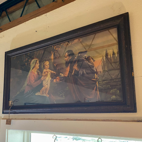 Framed Lithograph of Mary Joseph Baby Jesus