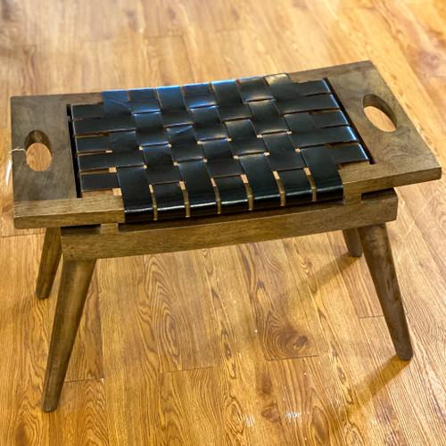 Mango Wood & Woven Leather Stool w/Handles