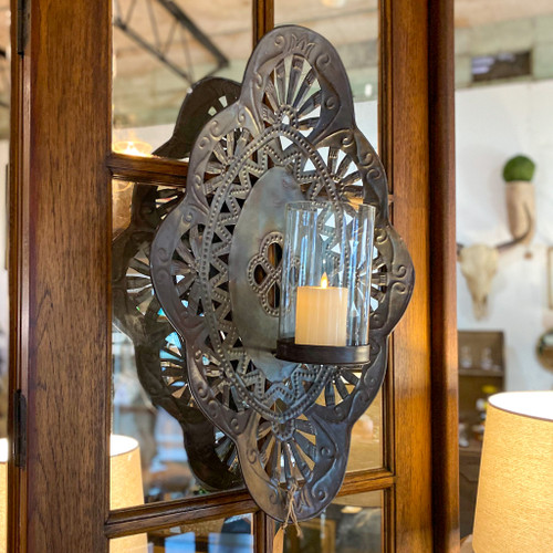 Black Iron Wall Sconce w/Glass Hurricane