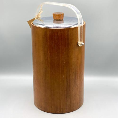Mid Century Modern Thermos Wooden Ice Bucket