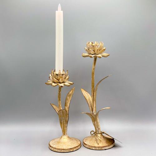 Metal Flower Taper Candle Holders