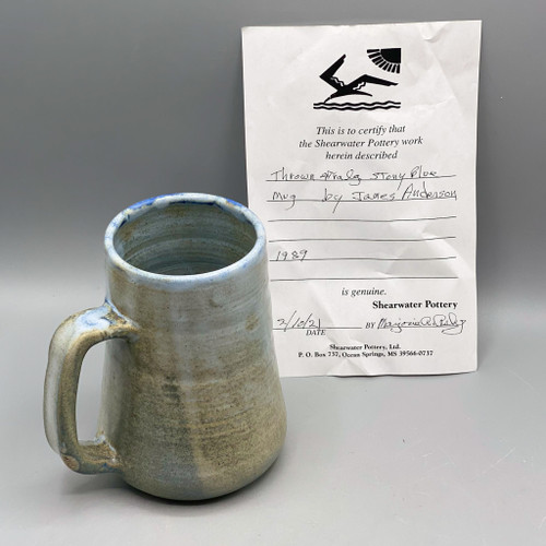 Thrown Stony Blue Extra Large Mug by James Anderson, 1989, Shearwater Pottery