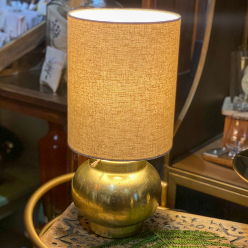 Engraved Metal Table Lamp, Antique Brass Finish