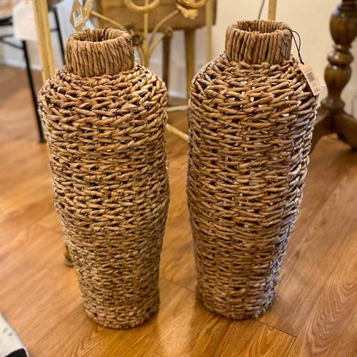 Round Water Hyacinth & Rattan Floor Vase