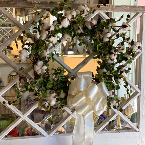 "Faux Cotton Eucalyptus 20"" Wreath"