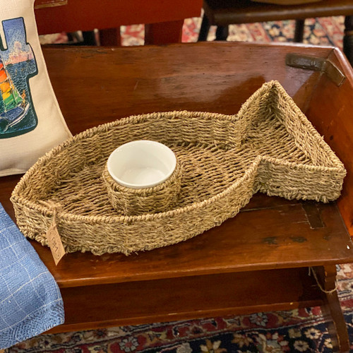 Hand Woven Seagrass Fish Shaped Chip & Dip Bowl