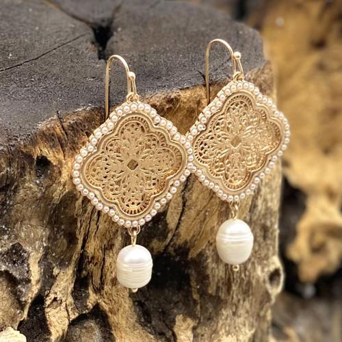 Gold Quatrefoil Filigree & Pearl Earrings