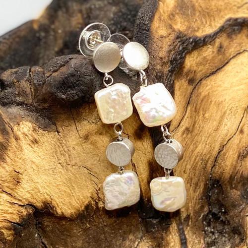 Geometric Silver & Pearl Earrings