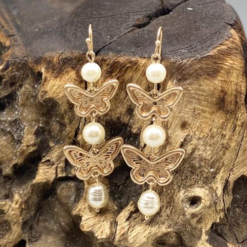 Gold Butterfly Filigree & Pearl Earrings
