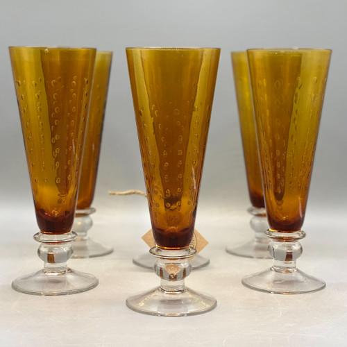 Vintage Fluted Glasses, Set of 6