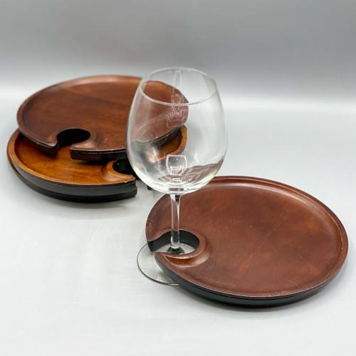 Wood Entertaining Wine Plates, Set of 4