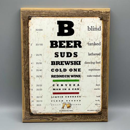 Beer Eye Chart Framed Sign