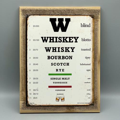 Whiskey Eye Chart Framed Sign