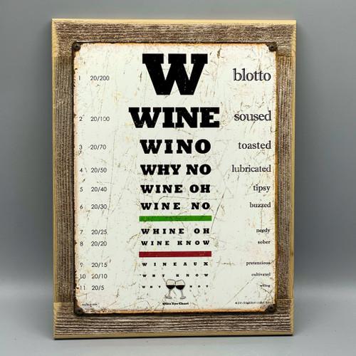Wine Eye Chart Framed Sign