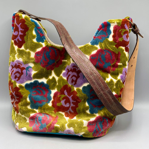 Handmade Floral Tapestry & Leather Purse