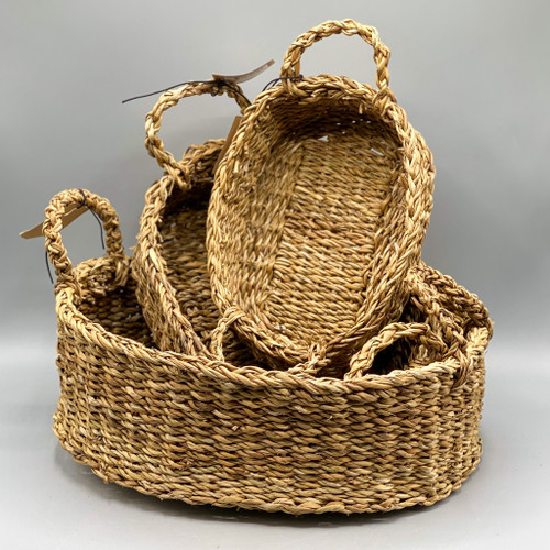 Oval Natural Woven Seagrass Basket with Handles