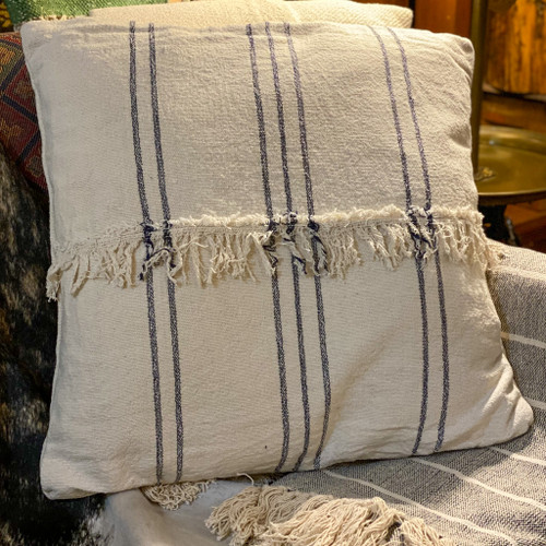 Cotton Mudcloth Stripe Pillow w/Fringe