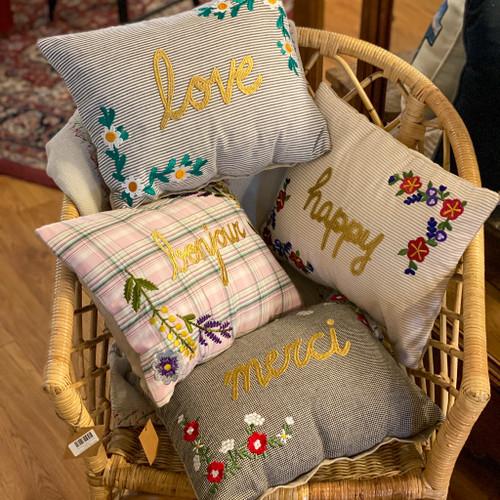 "Embroidered Lumbar Pillow, ""happy"", ""bonjour"", ""love"" & ""merci"""