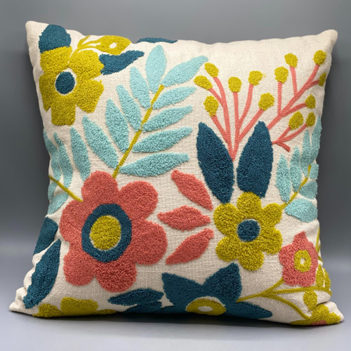 """18"""" Sq Woven Floral Embroidered Pillow"""