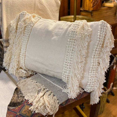 Cotton & Chenille Woven Lumbar Pillow w/Fringe