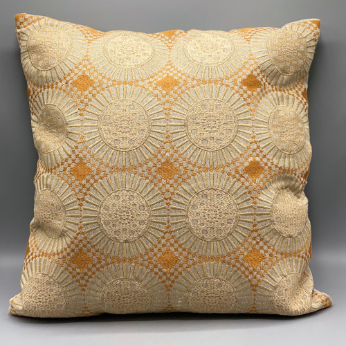 "18"" Sq Cotton Embroidered Pillow, Mustard"