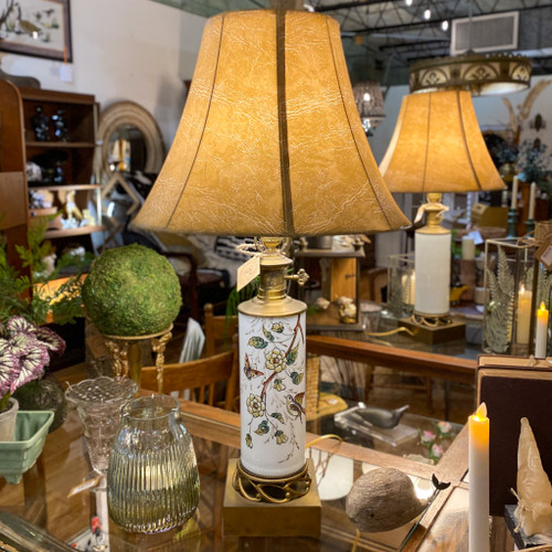 Vintage Porcelain & Brass Bird Motif Lamp