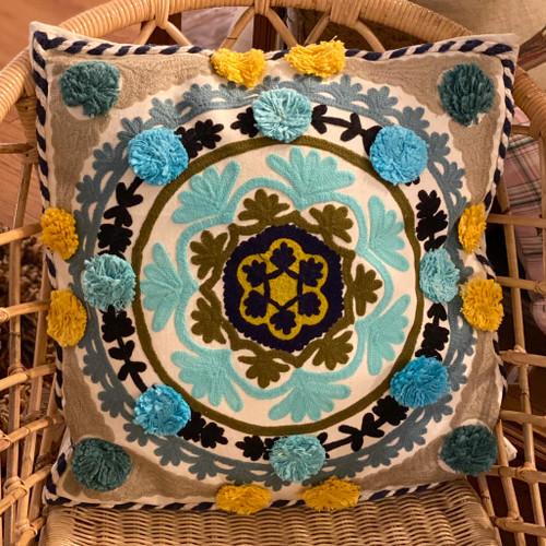 Square Medallion Pillow w/Poms