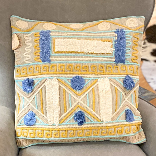 Geometric Pattern Pillow w/Poms