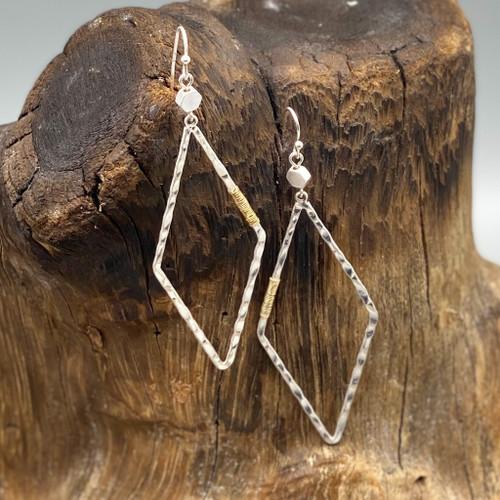 Silver Diamond Metal Earrings