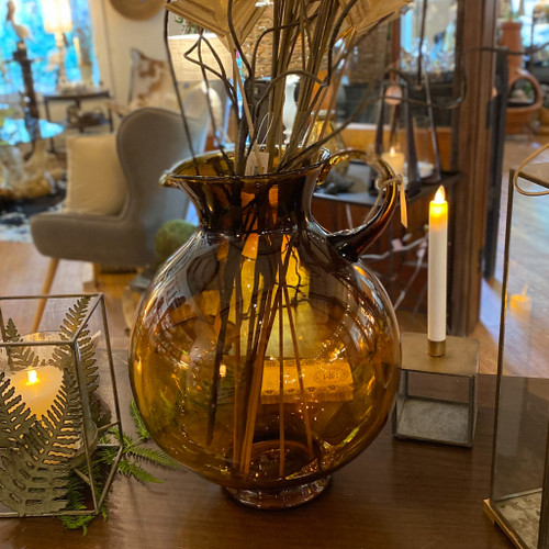 Hand Blown Oversized Amber Pitcher