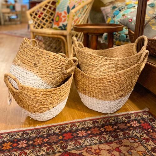 White Water Hyacinth Basket