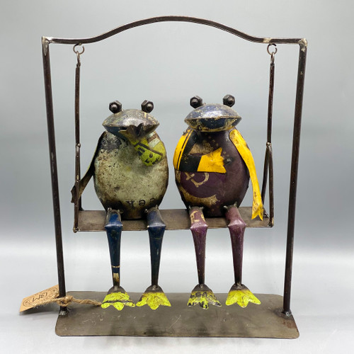 2 Recycled Metal Frogs on a Swing