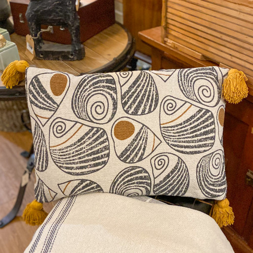 Black & Mustard Lumbar Pillow w/Tassels