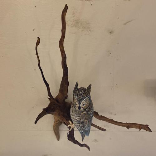 Vintage Hand Carved Owl on Driftwood