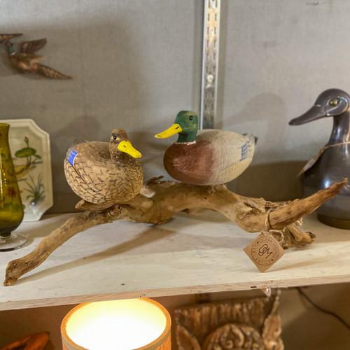 Vintage Hand Carved Ducks on Driftwood
