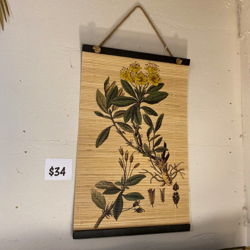 Printed Floral Bamboo Wall Scroll
