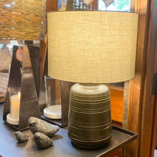 Stoneware Table Lamp w/Olive Green Shade