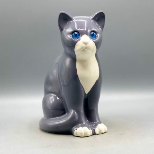 Vintage Porcelain Gray Cat, Portugal