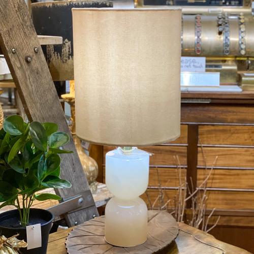 Alabaster Lamp w/Velvet Shade