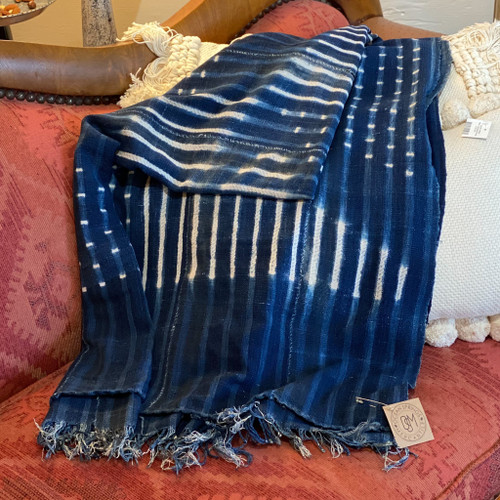 Vintage Indigo Shapes Blanket w/Fringe, Made in Africa