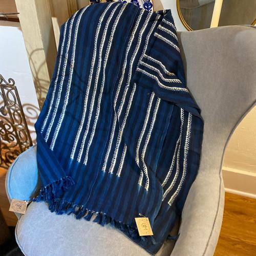 Vintage Striped Mud Cloth Blanket, Made in Africa