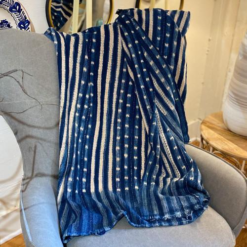 Vintage Dots & Stripes Mud Cloth Blanket, Made in Africa