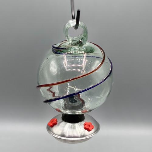 Dew Drop Hummingbird Feeder 3D Blue & Red Swirl