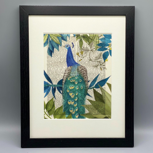 Peacock on Branch Framed Book Print
