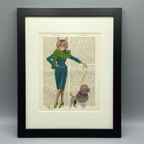Cat & Poodle Framed Book Print